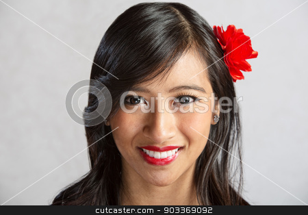 Close Up of Smiling Woman stock photo, Close up of happy young Latino female by Scott Griessel