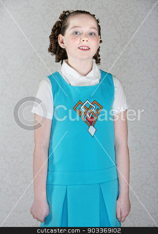 Confident Little Irish Girl stock photo, Confident little Irish girl with curls and blue dress by Scott Griessel