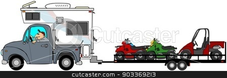 Truck with camper towing ATV's stock photo, This illustration depicts a man driving a truck & camper towing a trailer with ATV's and a side-by-side vehicle. by Dennis Cox