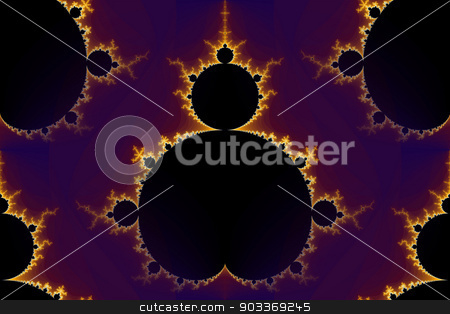 Fractal Mandelbrot stock photo, Mandelbrot fractal in the colors of purple golden yellow blue. by Henrik Lehnerer