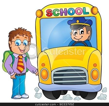 Image with school bus topic 3 stock vector clipart, Image with school bus topic 3 - eps10 vector illustration. by Klara Viskova