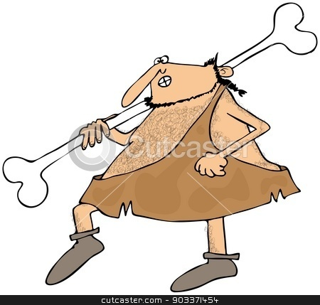 Caveman carrying a large bone stock photo, This illustration depicts a caveman carrying a large bone on his shoulder. by Dennis Cox