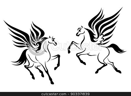 Black pegasus horse with wings stock vector clipart, Black pegasus horses with wings for religious design by Anzhela Buch