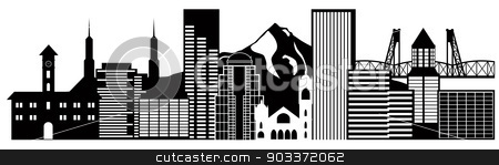 Portland Oregon Skyline Black and White Illustration stock vector clipart, Portland Oregon Outline Silhouette with City Skyline Downtown Panorama Black Isolated on White Background Illustration by Jit Lim