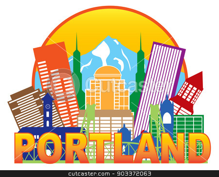 Portland Oregon Skyline Circle Color Illustration stock vector clipart, Portland Oregon Outline Silhouette with City Skyline Downtown Circle Color Text Isolated on White Background Illustration by Jit Lim