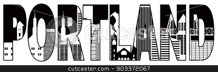 Portland Oregon Skyline Text Outline Black and White Illustratio stock vector clipart, Portland Oregon Text Outline Silhouette with City Skyline Downtown Panorama Black Isolated on White Background Illustration by Jit Lim