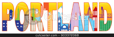 Portland Oregon Skyline Text Outline Color Illustration stock vector clipart, Portland Oregon Text Outline Silhouette with City Skyline Downtown Panorama Color Isolated on White Background Illustration by Jit Lim