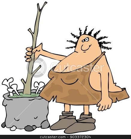 Cavewoman making soup stock photo, This illustration depicts a cavewoman stirring a pot of soup with a large tree branch. by Dennis Cox