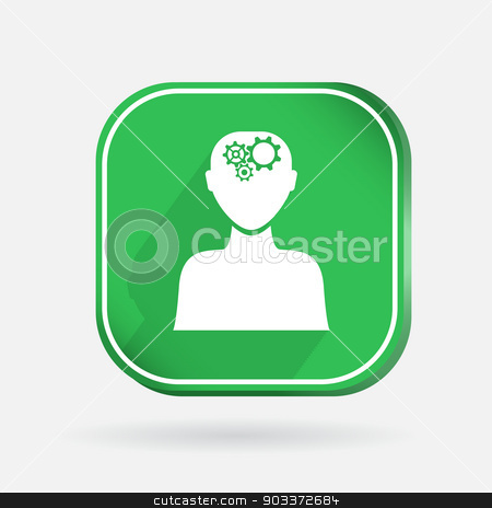 square icon, man thinks, the gears in head stock vector clipart, square icon, man thinks, the gears in head by LittleCuckoo