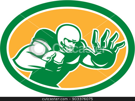American Football Player Fend Off Oval Retro stock vector clipart, Illustration of an american football gridiron player holding ball fending off stiff arm defend set inside oval on isolated background done in retro style.  by patrimonio