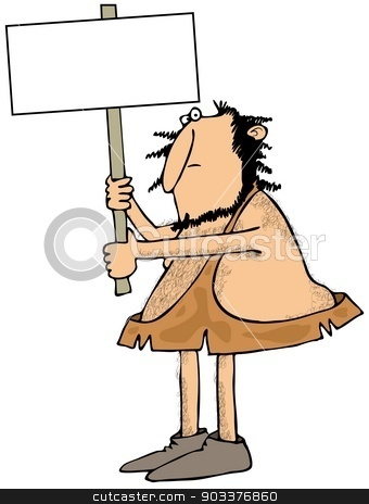 Caveman holding a sign stock photo, This illustration depicts a caveman holding up a blank sign. by Dennis Cox