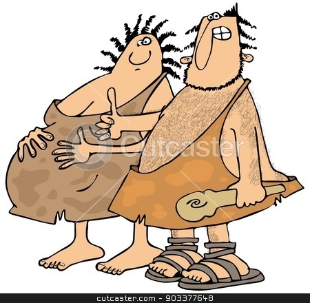 Expectant Neanderthals stock photo, This illustration depicts a pregnant cavewoman with her husband giving the thumbs-up sign. by Dennis Cox