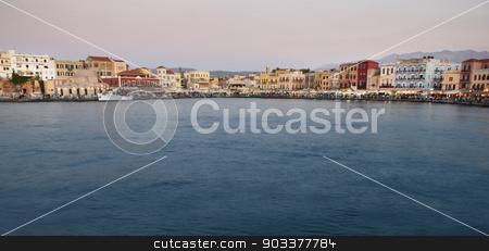 Chania port with antique venetians buildings. Crete stock photo, Chania port with antique venetians buildings. Crete. Horizontal by ABBPhoto