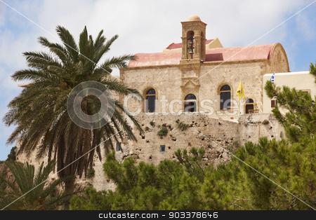 Chrisoskalitissa monastery in Crete. Built on a rock. Greece stock photo, Chrisoskalitissa monastery in Crete. Built on a rock. Greece. Horizontal by ABBPhoto