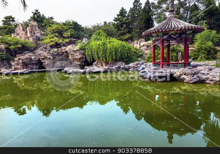 Red Pavilion Rock Garden Water Pond Temple of Sun City Park Beij stock photo, Red Pavilion Rock Garden Water Pond Reflection Temple of Sun City Park, Beijing, China Willow Green Trees by William Perry