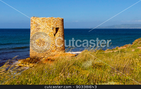 Little Tower on the coast stock photo, Little Tower on the coast of Sardinia by Francesco