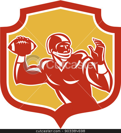 American Football Quarterback Shield Retro stock vector clipart, Illustration of an american football gridiron quarterback player throwing passing ball facing side set inside crest shield on isolated background done in retro style. by patrimonio