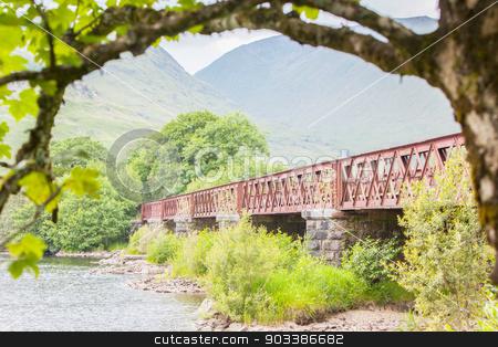 Structure of metal railway bridge stock photo, Structure of metal railway bridge, old railway bridge in Scotland by michaklootwijk