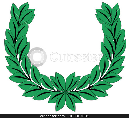 Laurel Crown stock vector clipart, A crown of olive leaves on a white background by Kotto
