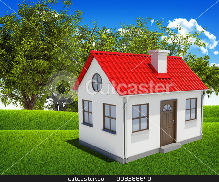 House, green field, forest and blue sky stock photo, House, green field and forest on a background of the blue sky by cherezoff