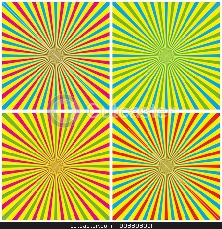 Backgrounds Set stock vector clipart, Backgrounds Set With Radial Rays vector illustration by nicousnake