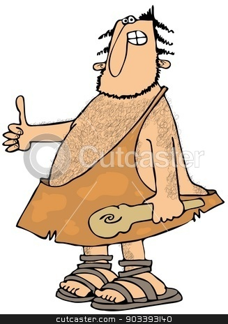 Caveman Thumbs-up stock photo, This illustration depicts a caveman carrying a wooden club and giving the thumbs-up gesture. by Dennis Cox