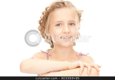little girl stock photo, bright closeup portrait picture of little girl  by Syda Productions
