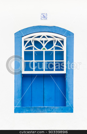 Colorful vintage window. stock photo, Decorative, colonial, blue, vintage, window on a white wall in Paraty (or Parati), Brazil. by kasto