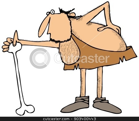 Caveman stooped over stock photo, This illustration depicts a caveman stooped over in pain from a bad back. by Dennis Cox
