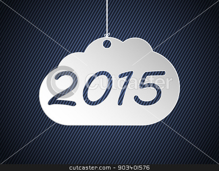 Hanging 2015 cloud stock vector clipart, Hanging 2015 cloud on striped dark background by Mihaly Pal Fazakas