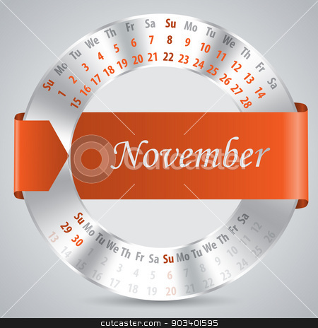 2015 november calendar design stock vector clipart, 2015 calendar design with metallic ring and ribbon - november month by Mihaly Pal Fazakas