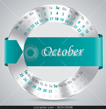 2015 october calendar design stock vector clipart, 2015 calendar design with metallic ring and ribbon - october month by Mihaly Pal Fazakas