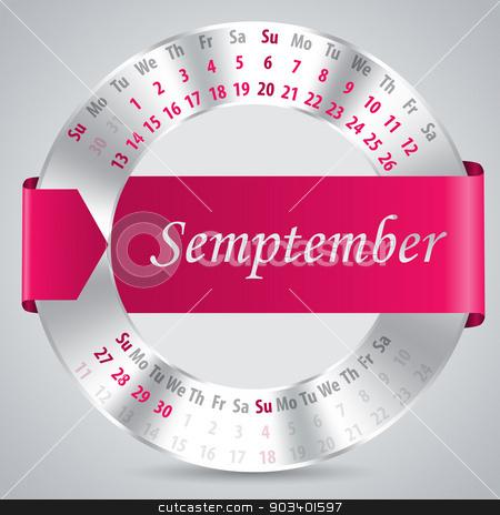2015 september calendar design stock vector clipart, 2015 calendar design with metallic ring and ribbon - september month by Mihaly Pal Fazakas