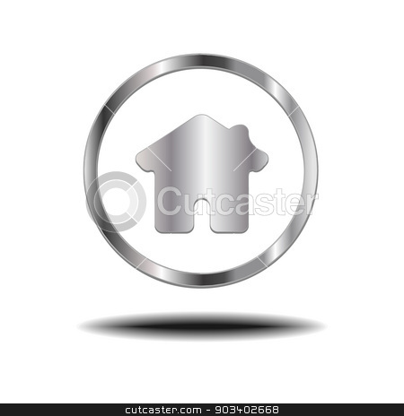 Metal Home Icon. stock vector clipart, Metal Home Icon. by doraclub