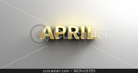 April month gold 3D quality render on the wall background with s stock photo, April month gold 3D quality render on the wall background with soft shadow. by Andrej Kaprinay