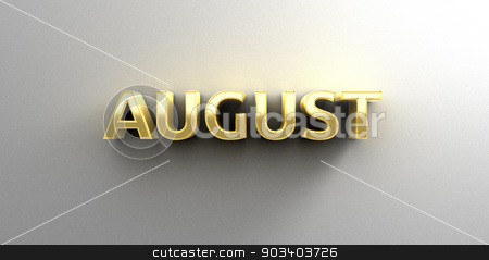 August month gold 3D quality render on the wall background with  stock photo, August month gold 3D quality render on the wall background with soft shadow. by Andrej Kaprinay