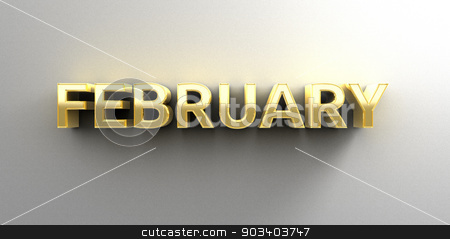 February month gold 3D quality render on the wall background wit stock photo, February month gold 3D quality render on the wall background with soft shadow. by Andrej Kaprinay