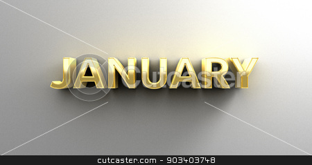 January month gold 3D quality render on the wall background with stock photo, January month gold 3D quality render on the wall background with soft shadow. by Andrej Kaprinay