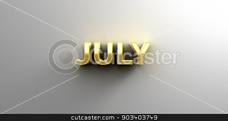 July month gold 3D quality render on the wall background with so stock photo, July month gold 3D quality render on the wall background with soft shadow. by Andrej Kaprinay