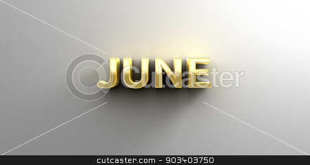 June month gold 3D quality render on the wall background with so stock photo, June month gold 3D quality render on the wall background with soft shadow. by Andrej Kaprinay