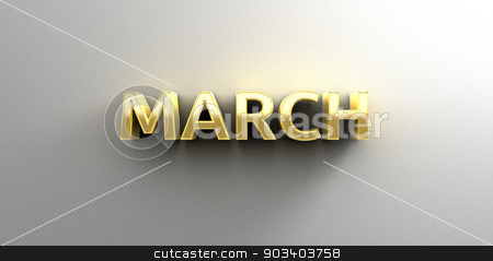 March month gold 3D quality render on the wall background with s stock photo, March month gold 3D quality render on the wall background with soft shadow. by Andrej Kaprinay