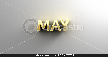 May month gold 3D quality render on the wall background with sof stock photo, May month gold 3D quality render on the wall background with soft shadow. by Andrej Kaprinay
