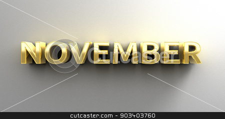 November month gold 3D quality render on the wall background wit stock photo, November month gold 3D quality render on the wall background with soft shadow. by Andrej Kaprinay