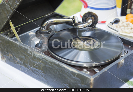 Antique Phonograph Record Player stock photo, Antique Phonograph Record Player on Table. by Andy Dean