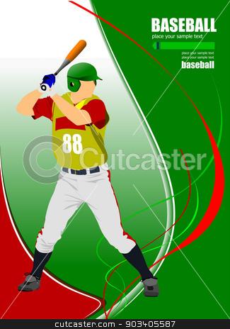 Baseball player. Vector illustration stock vector clipart, Baseball player. Vector illustration by Leonid Dorfman