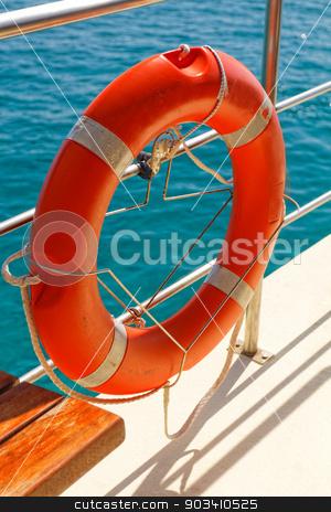Lifebelt stock photo, Photo of orange lifebelt on the ship  by Nneirda