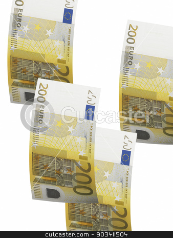 Two hundred euro bill collage isolated on white stock photo, Two hundred euro bill isolated on white. Vertical format by ABBPhoto