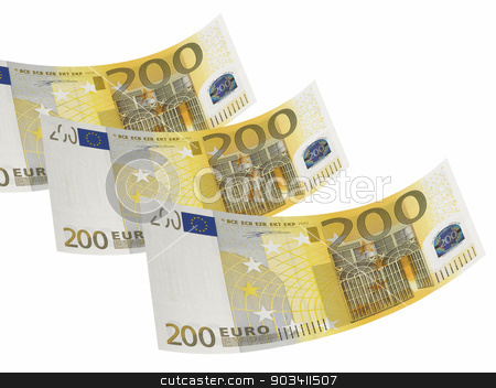 Two hundred euro bill collage isolated on white stock photo, Two hundred euro bill isolated on white. Horizontal format by ABBPhoto
