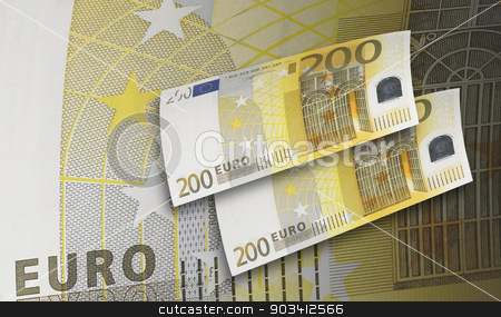 Two hundred euro bill collage in warm tone stock photo, Two hundred euro bill in warm tone. Horizontal format by ABBPhoto