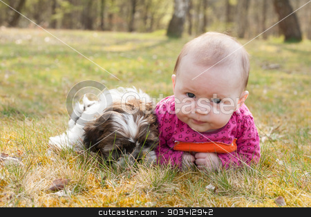 Cute puppy and baby in the park stock photo, Cute baby and puppy are on the grass in nature by Frenk and Danielle Kaufmann